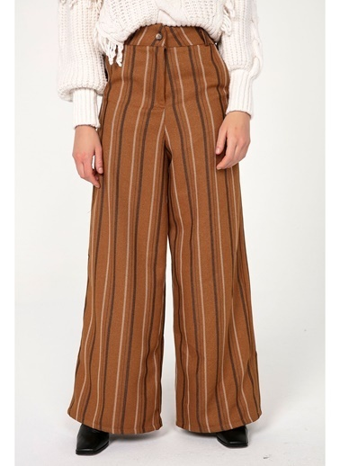 Tiffany&Tomato K20349 Yüksek Bel Çizgili Yün Pantolon Hardal